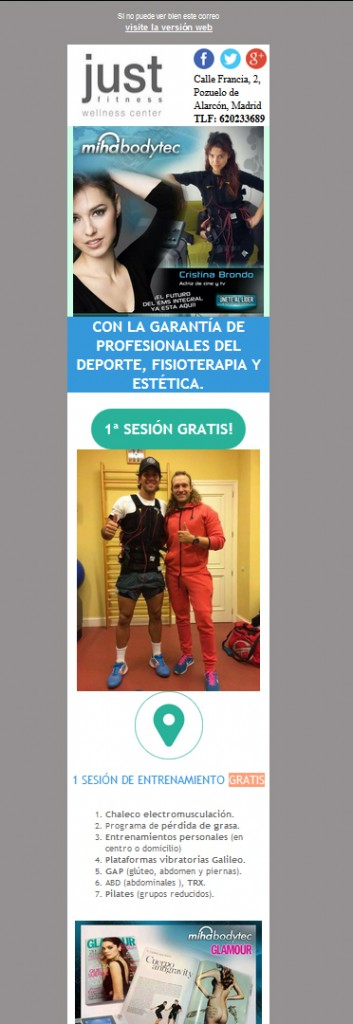 Newsletter Just Fitnes Pozuelo